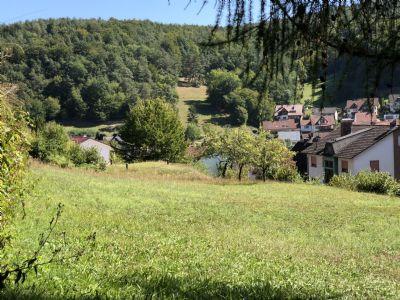 Hanggrundstück im traumhaften Spessart mit Ausblick auf sanfte Hügel, Wald und Wiesen