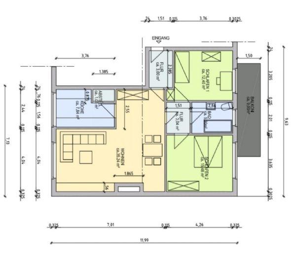 Helle 3 Zimmer Wohnung mit Balkon in Arnsberg, ca. 83 m²