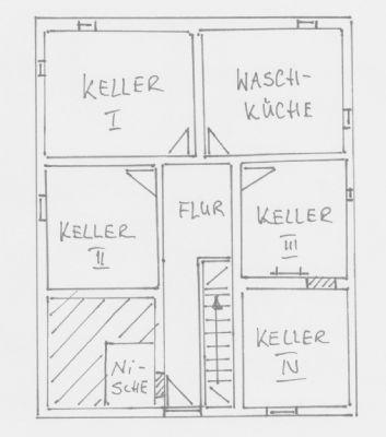 Grundriss-Skizze Kellergeschoss Wohnhaus