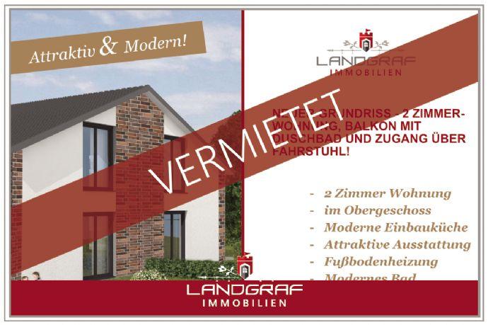 Neuer Grundriss - 2 Zimmer-Wohnung, Balkon, EBK, Duschbad und Zugang über Fahrstuhl!
