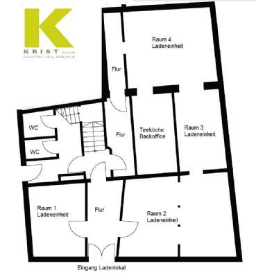 Grundriss Ladenlokal mit Raumaufteilung und WC