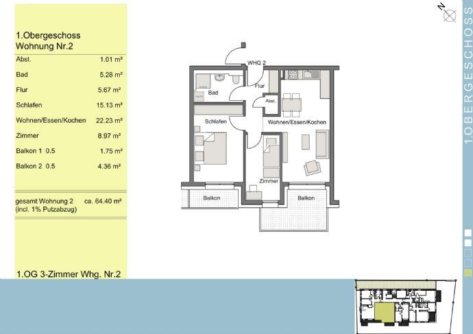 *NEUBAU* 2 oder 3 Zimmerwohnung in zentraler Lage, modern, hell und mit Tiefgarage