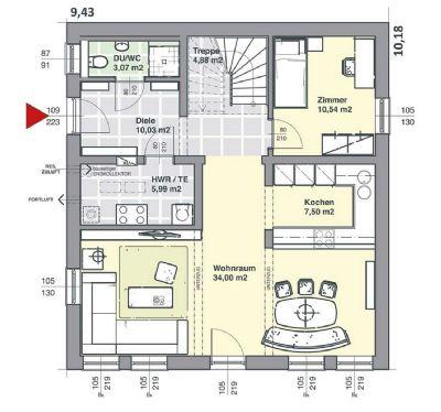 EG Grundriss mit Variante Zimmer