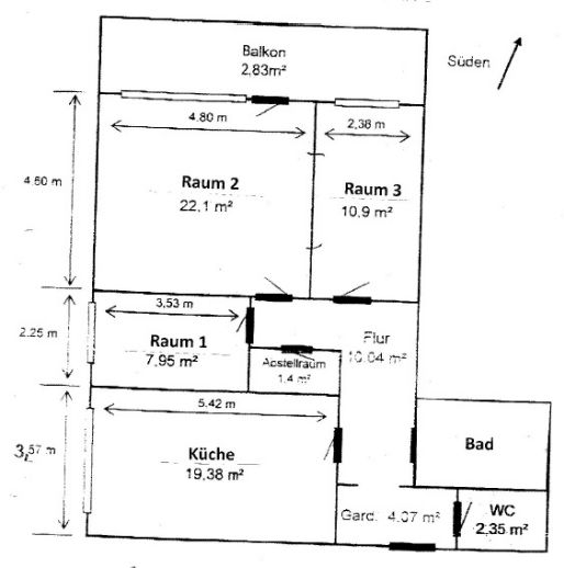 3,5 Zimmer & großer Balkon - 3er WG geeignet