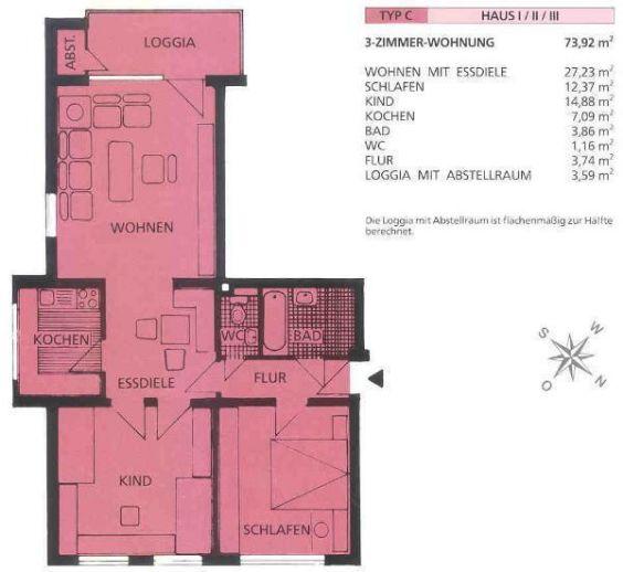 Vermietete 3-Zimmer-Eigentumswohnung Nähe EKZ
