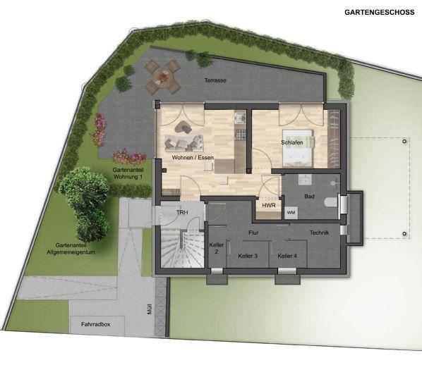 Erstbezug nach Sanierung, möbl. 2,5 Zi. Wohnung, Terrasse, Energie A+