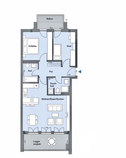 3-Zi.-Whg. mit Lift, Loggia verglast, Balkon und hochwertige Einbauküche in Freising