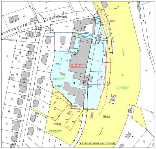 Über 11.559 m² Grundstück offen für jegliche Projekte zu verkaufen ( teils bebaut mit Fabrikhalle und 3-Fam.Haus )