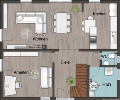 Grundriss Erdgeschoss mit offener Küche