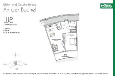 Hochwertige, barrierefreie Neubau-Whg., 2 ZKB mit Balkonanteil im Zentrum von Marktoberdorf (KfW 55) - Erstbezug