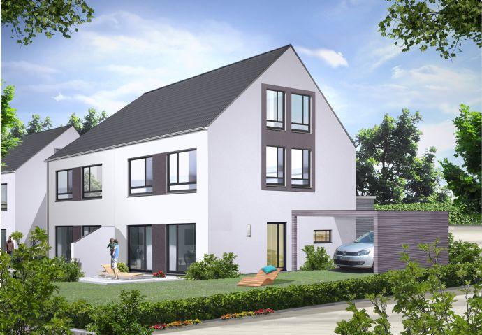 moderne Doppelhaushälfte mit ausgebautem Dach und Carport