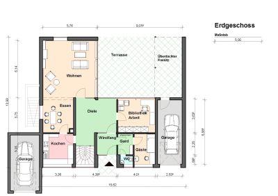 Grundriss Erdgeschoss mit zwei Garagen