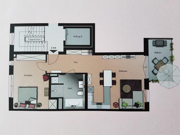 Barrierefreie 2-Zimmer-Stadtwohnung mit Balkon und Aufzug