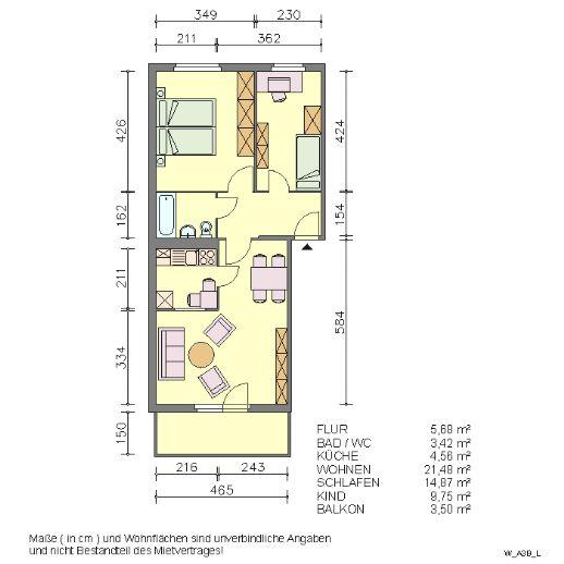 Drei-Raum-Wohnung mit Balkon