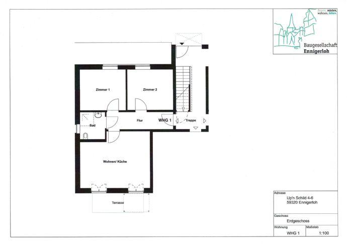 3-Zimmer-Wohnung mit Terrasse in Ennigerloh zur Miete, WBS erforderlich (Besetzungsrecht Kreis Warendorf)