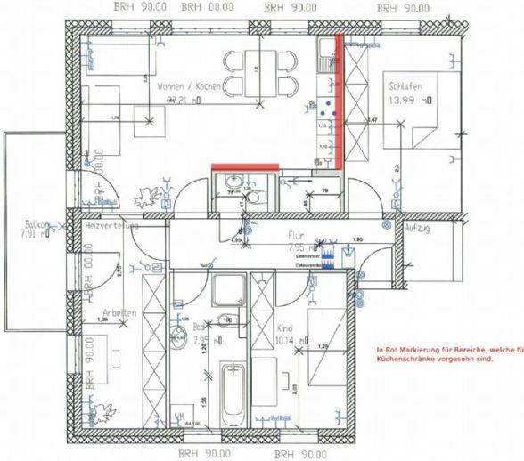 4-Zimmer-Wohnung mit Balkon, Einbauküche und Fahrstuhl