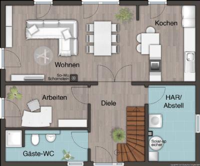 EG mit offener Küche und Gäste-Wc mit Dusche
