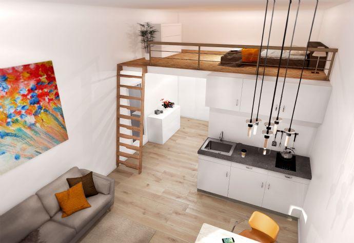 Studentisches Wohnen 2 Zimmer Apartment mit Hochebene EG Neubau Erstbezug EBK PKW Stellplatz