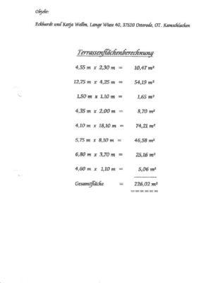 Terrassenflächenberechnung