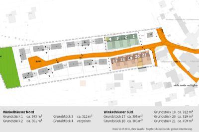 Baugebiet mit Winkelhäusern nummeriert