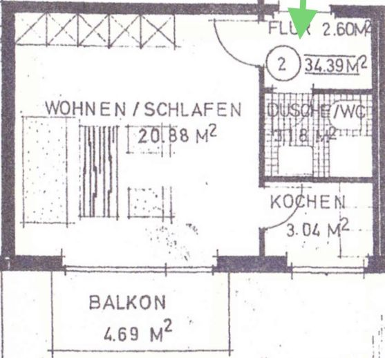 Komplett möbliertes Apartment mit Garten-Balkon   Waschmaschine   Nähe TA / Bahnhof