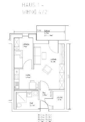 Grundriss 2-Raumwohnung Haus 1 Wohnung 4