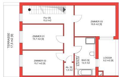 Erstes Obergeschoss mit Terrasse und Loggia