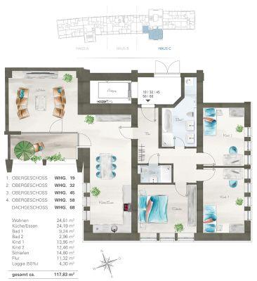 Grundriss Wohnung - 1.OG bis 5.OG