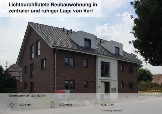 Lichtdurchflutete Neubauwohnung in zentraler und ruhiger Lage von Verl