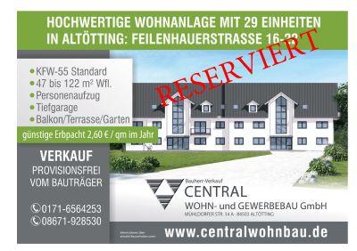 Neubau Eigentumswohnung in Altötting mit Aufzug, 1-Zi. Obergeschoss mit Balkon