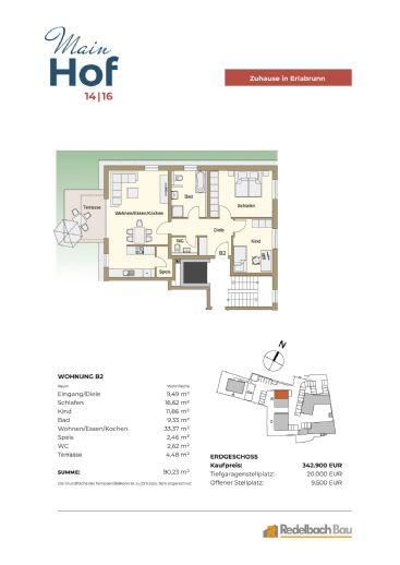 MAINHOF 14/16 ERLABRUNN- Grosse helle 3-Zimmerwohnung mit Terrasse - Whg. B2