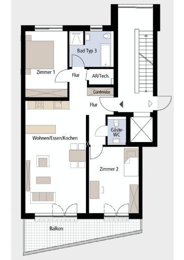 Neubau 2. OG 3 Zimmer Wohnung Nr. 14 Neubau