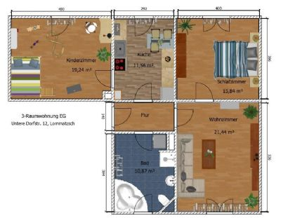 großzügige 3-Raum-WE in idyllischer Lage mit Garage und Garten
