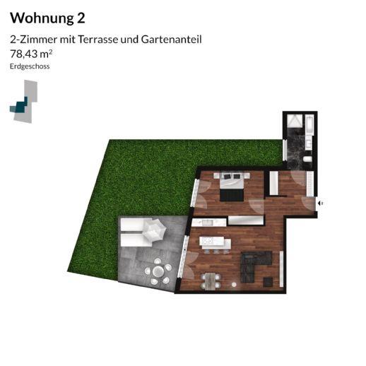 Helle Neubauwohnung in Fürth - 2-Zimmer mit großerTerrasse und Garten