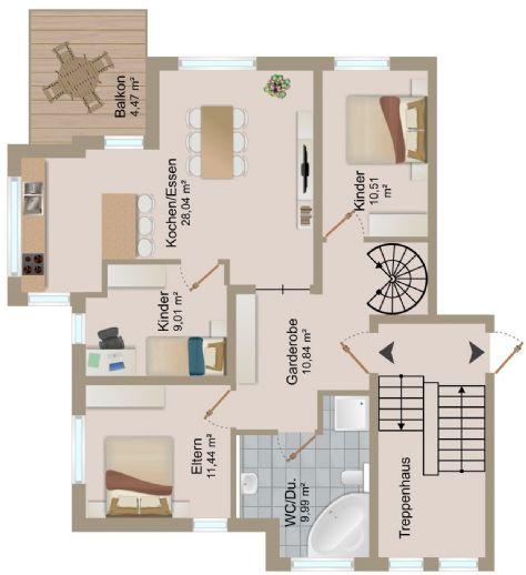 Penthouse Wohnung mit 5,5 Zimmern