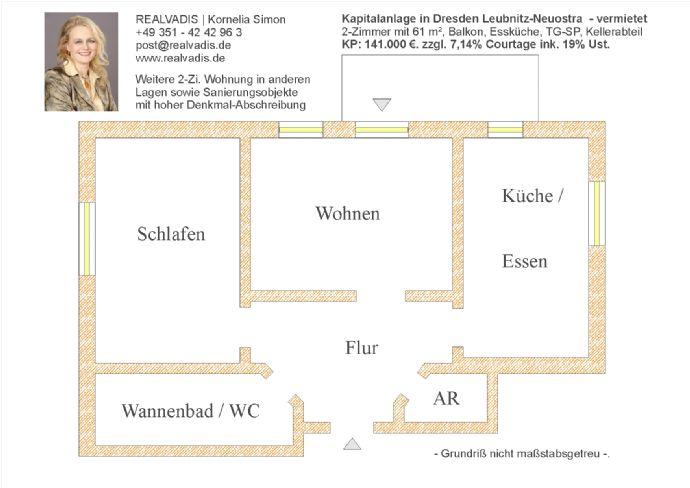 Ruhige 2 Zi. mit Balkon als Kapitalanlage in Dresden Leubnitz-Neuostra