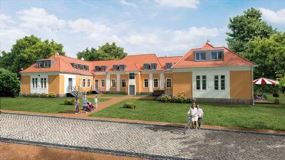 Traumhafte, stilvolle Wohnanlage mit großzügigen Wohnungen, umgeben von einer grünen Parkanlage.