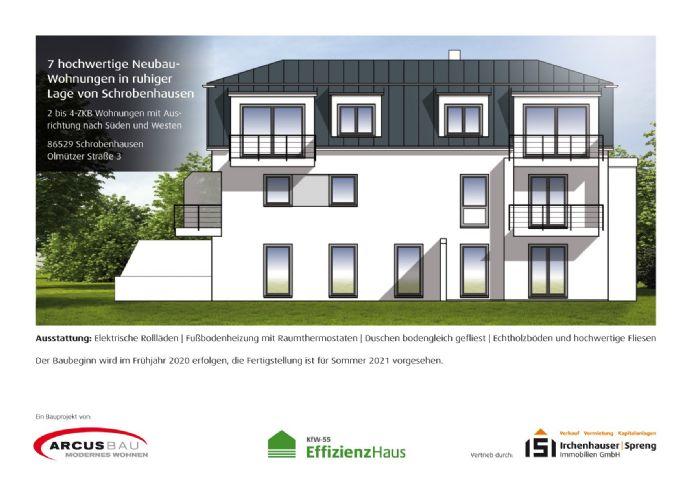 KfW55! 2-ZKB Obergeschoss-Wohnung mit West-Balkon, elektrischen Rollläden, Fußbodenheizung u. bodengleicher Dusche in ruhiger Lage von Schrobenhausen!