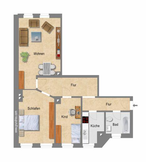 SÜDVORSTADT: saniertes 3-Zimmer-Apartment mit Tageslichtbad & neuer Einbauküche in optimaler Lage - WG-geeignet