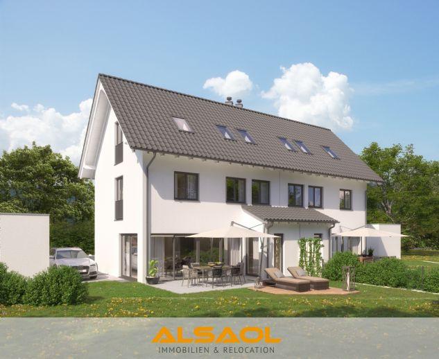 ALSAOL Immobilien: Neubau - außergewöhnliche Doppelhaushälfte mit Kamin und SW-Garten in Gräfelfing!