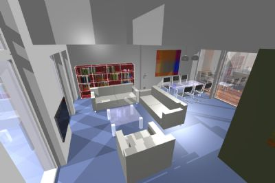 Blick von Galerie in Wohnraum