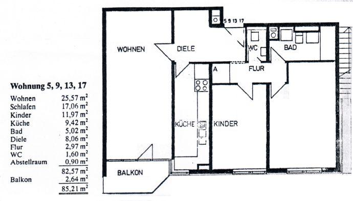 3-Zimmer-Stadtwohnung mit Balkon und Aufzug