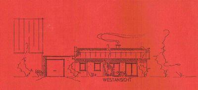 Zeichnung Beispiel Halle mit Bungalow und Garage