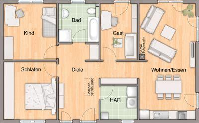 Grundriss mit 4 Zimmern