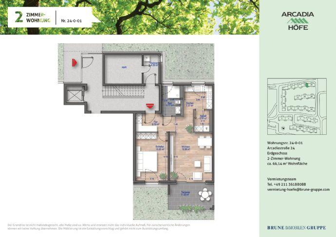 Preisgedämpfte Gartenwohnung im Neubau! 2- Zimmer mit Fußbodenheizung in den Arcadia Höfen!