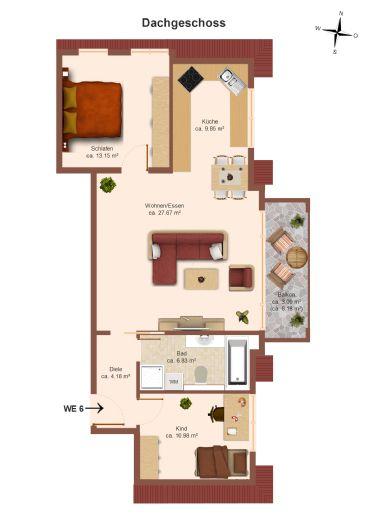 exklusive 3-Raum-Wohnung mit großzügigem Balkon