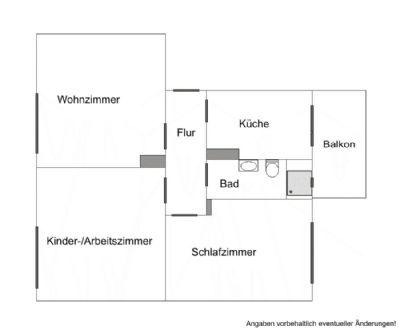 Grundriss 3-Raumwohnung - Änderung vorbehalten!
