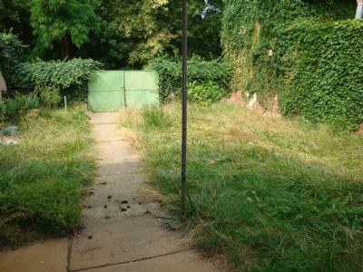 Blick auf Einfahrt vom Garten aus