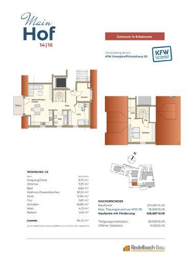 MAINHOF 14/16 ERLABRUNN- Traumhafte 4-Zimmer Maisonettewohnung mit Balkon - Whg. C5