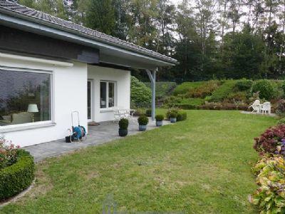 Rückansicht mit Terrasse und Garten